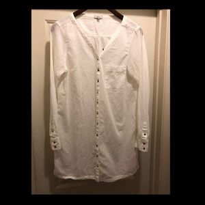 Long White Joie Button Up Top Small